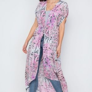Pink Multi color Foral Print Cover Up Cardigan